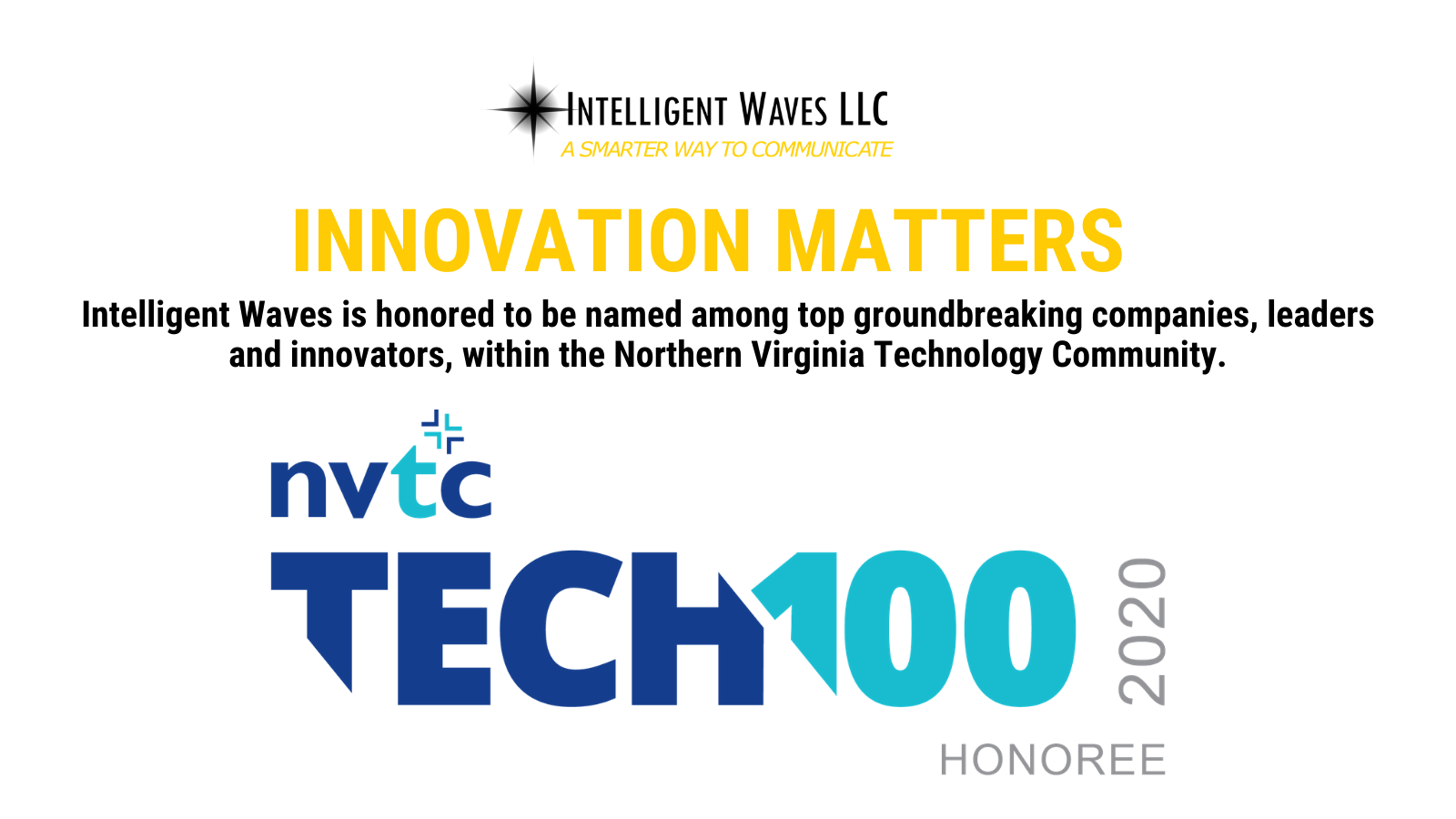 Intelligent Waves honored NVTC Tech100 graphic